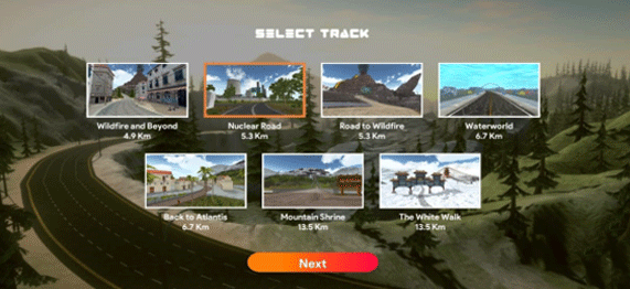 Select your Race Track on Fitwarz